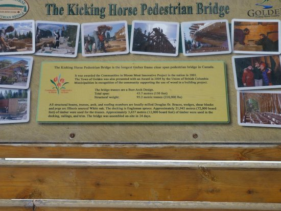 Kicking Horse Pedestrian Bridge: Information about the bridge, which is on the bridge!