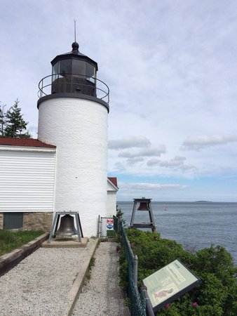 Bass Harbor Head Lighthouse: Limited views of the lighthouse due to fences around the building.
