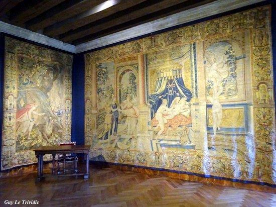Château d'Azay-le-Rideau : De nombreuses tapisseries agrémentent la visite..