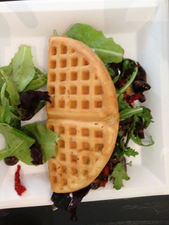 Cafe Mezcla: The Roasted mushroom and goat cheese with the waffle.