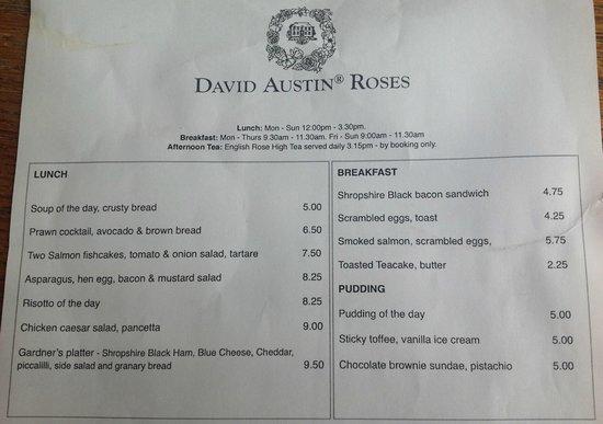 David Austin Roses: Part of the tearoom menu