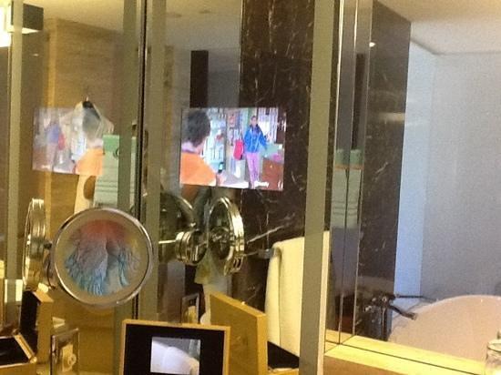 Mandarin Oriental, Las Vegas: the TV in the bathroom mirror