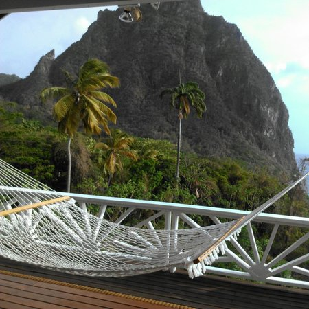 Stonefield Estate Resort : View of the Petite Piton from Flamboyant Deck