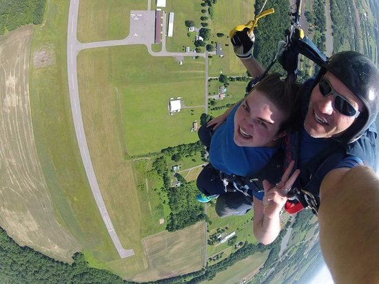 Skydive Central New York: Just chilling in our parachute