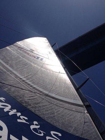 Sail Stars & Stripes USA-11: Passing under San Diego-Coronado Bridge