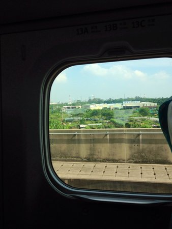 Taiwan High Speed Rail Taichung Station: View from the window of the HSR southbound train