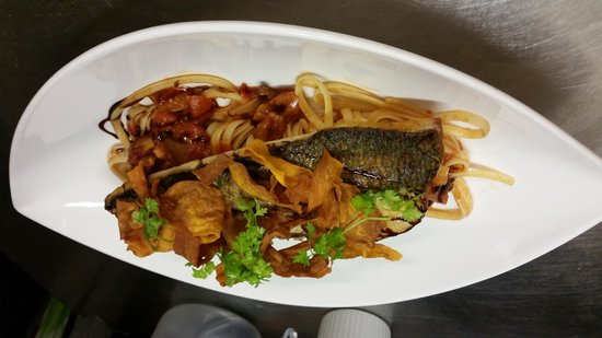 The Ruperra: Grey mullet with tomato and bacon linguini