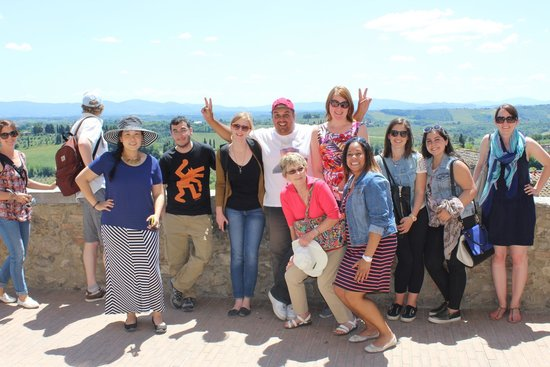 Fun in Tuscany: Our group with tour leader Christian in San Gimignano