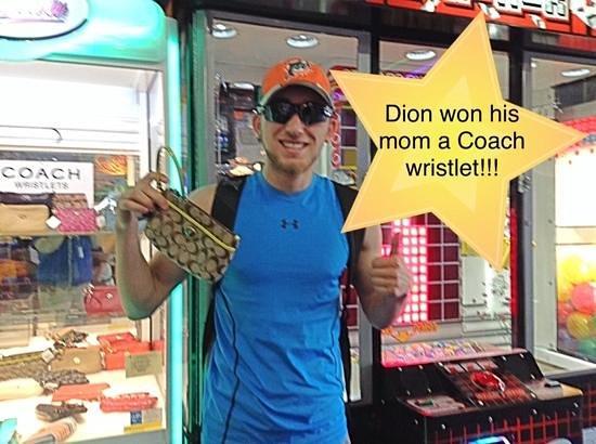 Rockin' Raceway Arcade: Dion won a coach wristlet