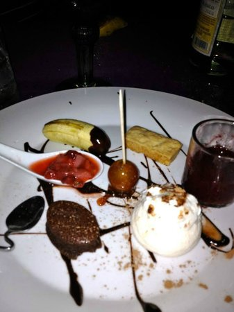 Lolo Lorena: Blackberry sherbet , strawberry in olive oil and lime , candy grape , belgian chocolate fondant