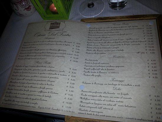 Osteria del Teatro: menu
