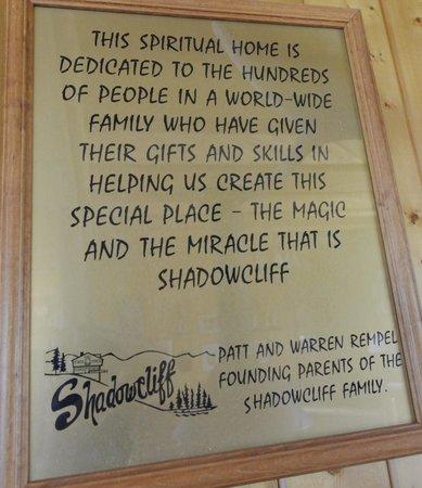 Shadowcliff Lodge: Rempel Dedication