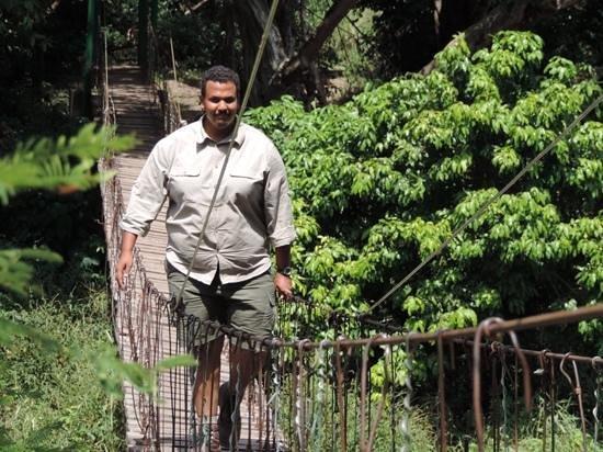 Singita Faru Faru Lodge: our fearless leader on the croc bridge!