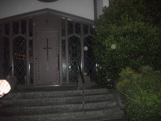 Ghost and Haunt Tours of Gatlinburg : Two very clear ghost orbs in front of a church