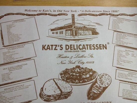 Katzs Deli Placemat With The Menu