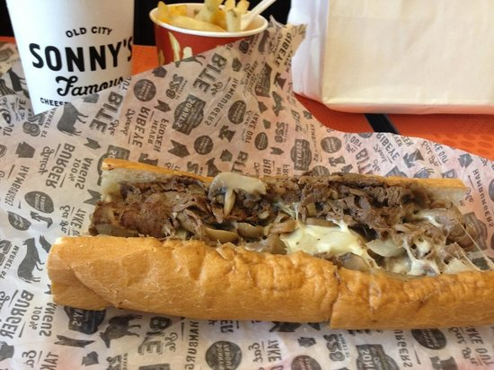 Sonny's Famous Steaks: Beef With Provolone and Mushrooms!
