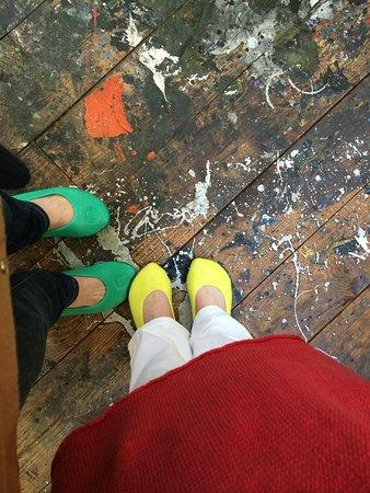 Pollock-Krasner House and Study Center : Jackson Pollock studio floor with his paint.