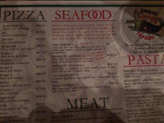 Ristorante Enrico: menu