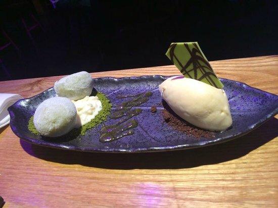 Shibui Bilbo: Arroz con leche con té verde, chocolate y helado de arroz con leche