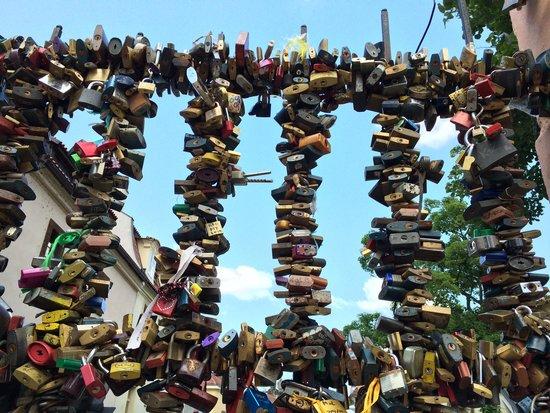 Prague By E-Bike: Love locks on a bridge railing