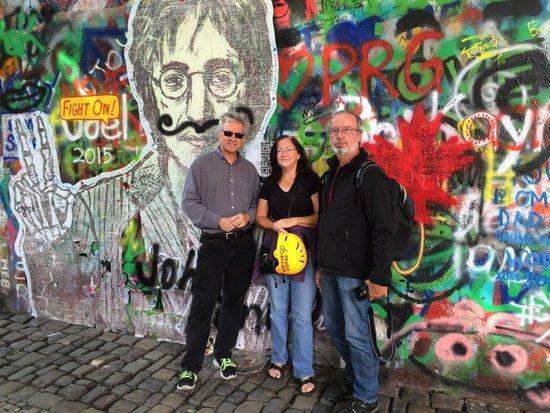 Prague By E-Bike: At the John Lennon Wall