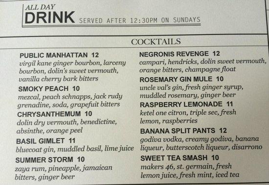 Drink menu - Picture of The Public Kitchen & Bar, Savannah - TripAdvisor