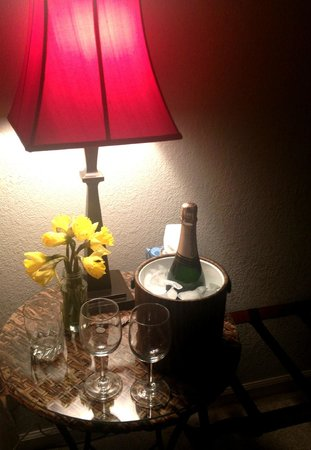One Light B&B: We came home from Yosemite to find our bottle of Champagne on ice :)