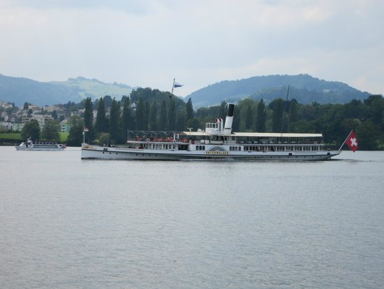 One of the lake boats on Lake Luzern.
