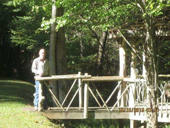 Cavender Creek Cabins Resort : Bridge over Pond 2013