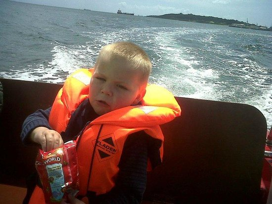 Falmouth Boat Hire: we took a picnic with us my little boy was hungry