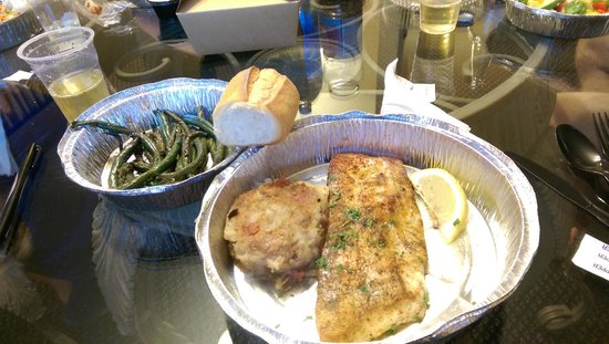 Lure Fish House: my halibut, green beans, parmesan potato cake, soourdough roll