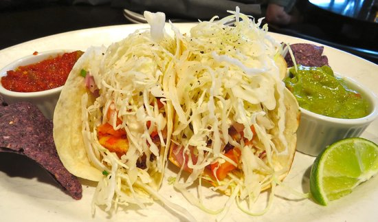 Lou's Grill: Prawn fish tacos -- much better than this picture seems to indicate