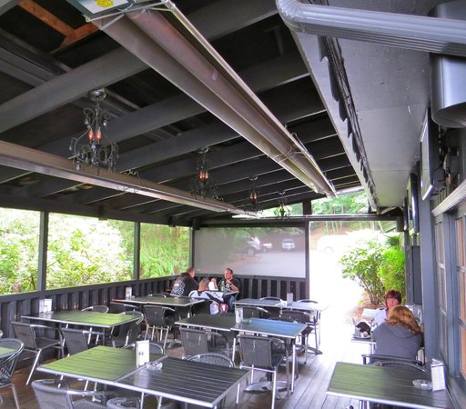 Lou's Grill: Outdoor deck heating system -- almost as hot as the waitresses ; )