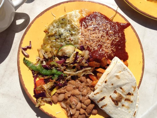 Sophia's Place: Huevos rancheros with vegetables and red sauce. THE BEST!