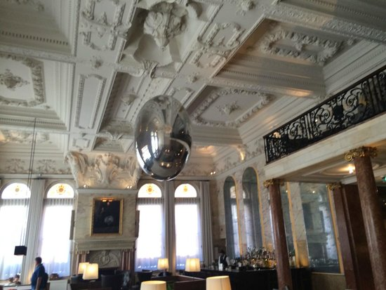 The London EDITION: View of the ceiling of the lobby when you enter
