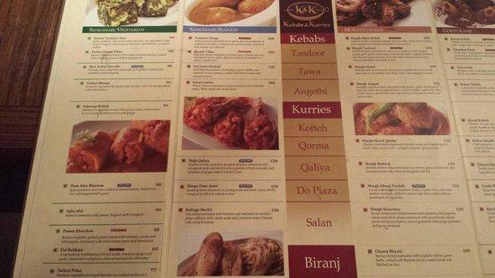 K & K : left side of the menu