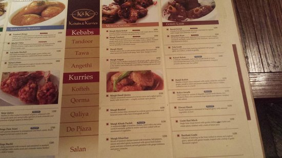 K & K : right side of the menu