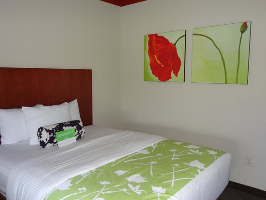 La Quinta Inn & Suites Dallas Love Field : One of the beds w/ flower painting on wall