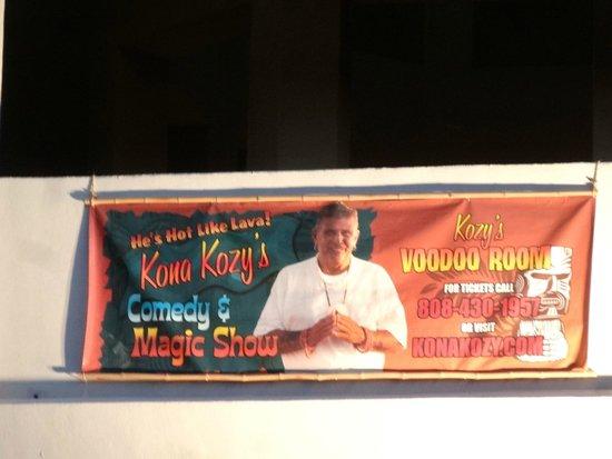 Kona Kozy's Comedy & Magic Show: Close up of the banner