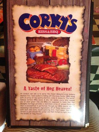 Corky's Bar-B-Q : Corky's menu
