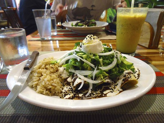 Vegan Planet: Mole antojito and maracuya-piña juice