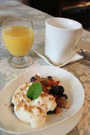 The Stella Rose B&B: Breakfast: Fruit, yogurt, and granola dish