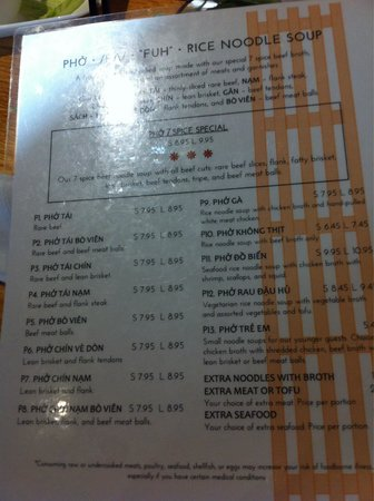 Pho 7 Spice: One of the two Pho 7 menus