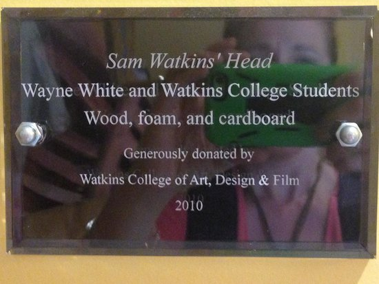 Brentwood Library: sign for the Sam Watkins' head statue in Children's section