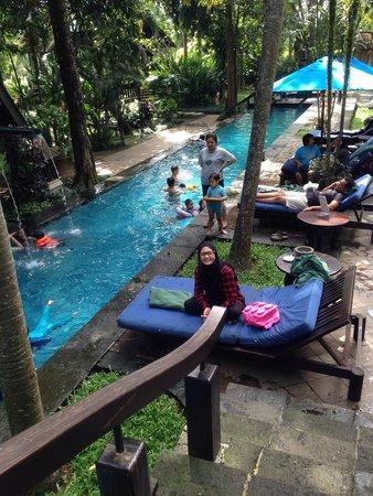 Hotel Novotel Bogor Golf Resort and Convention Center: kolam renangnya rimbun...tetap adem walaupun berenangnya siang siang gini...