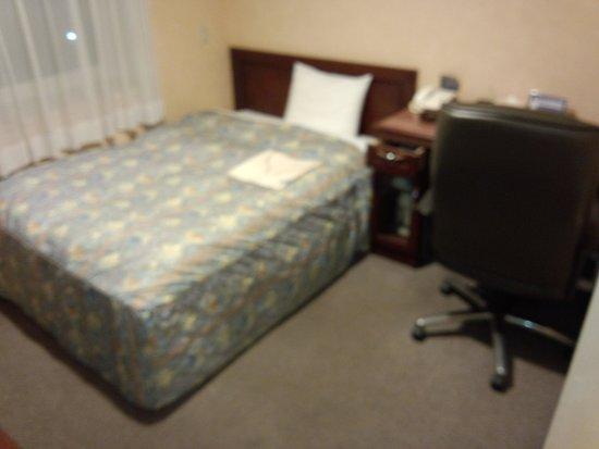 Chitose Station Hotel : セミダブルでした。ベッドコイルがよたよたでした。