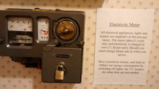 Hargate Hall: Electricity meter at the Windsor suite