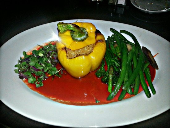 Depot Grill: Quinoa stuffed bell pepper with watercress, broccolini & red pepper sauce...all vegan and awesom