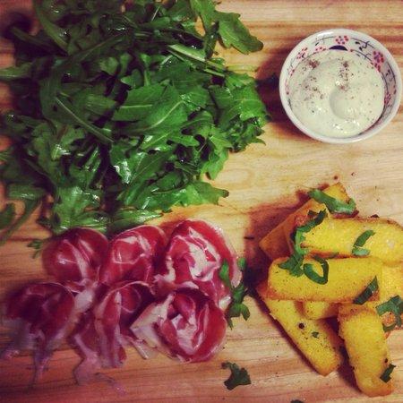 Il Buco: Delicious polenta chips with pancetta arrotolata and Crema di Gorgonzola :)