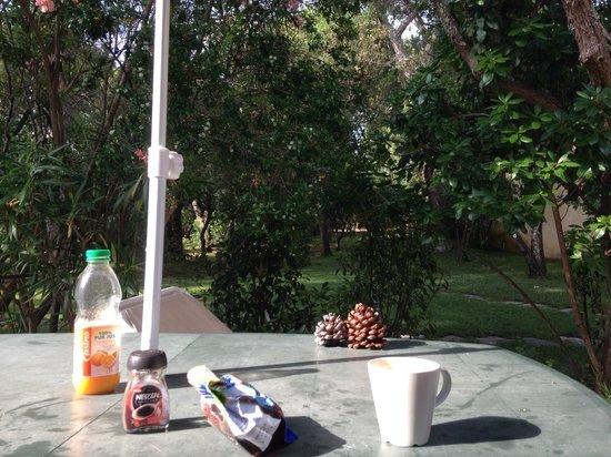 Résidence les Lièges de Palombaggia : Il patio a colazione.